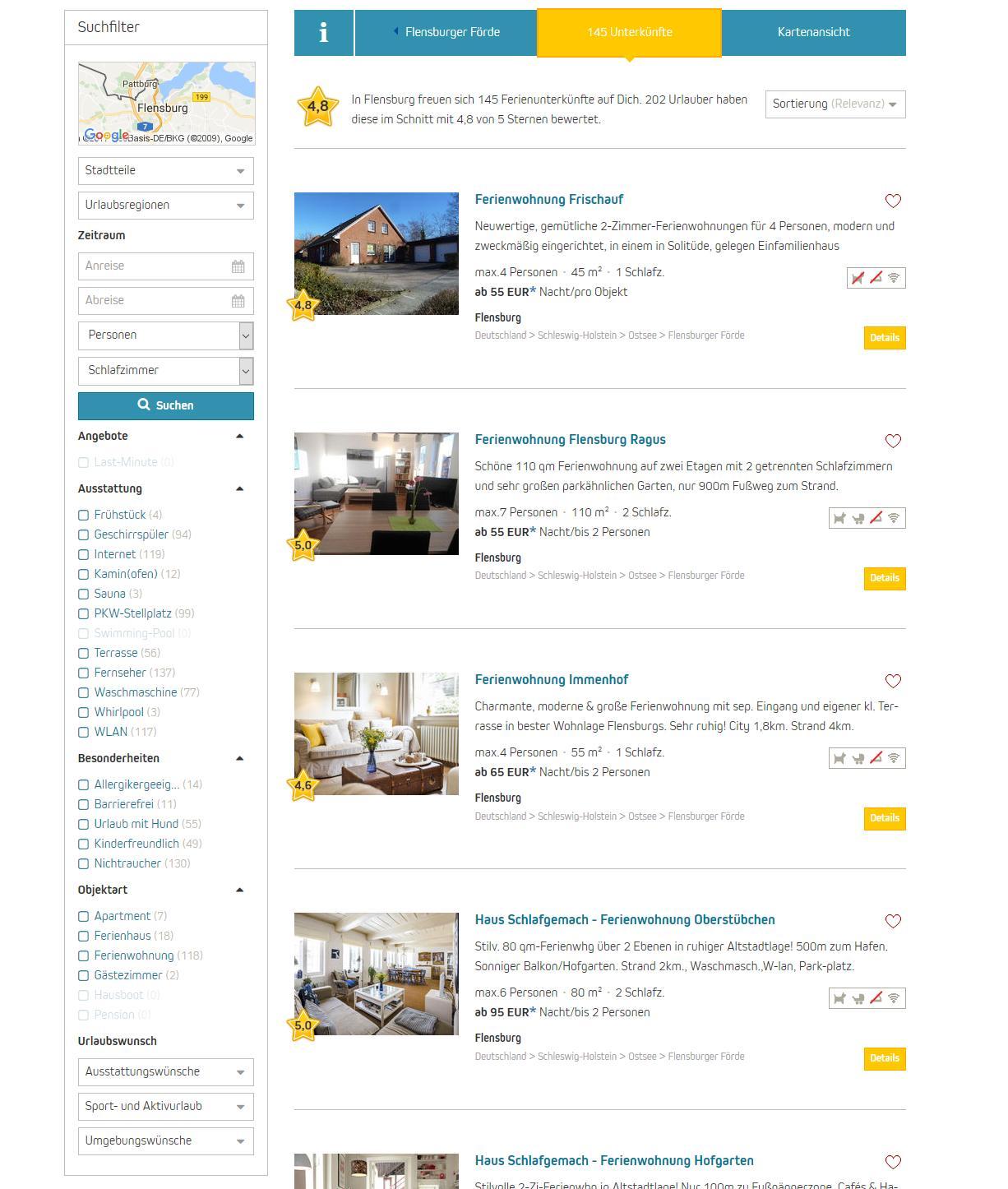 Die Suchfilter bei ferienwohnungen.de