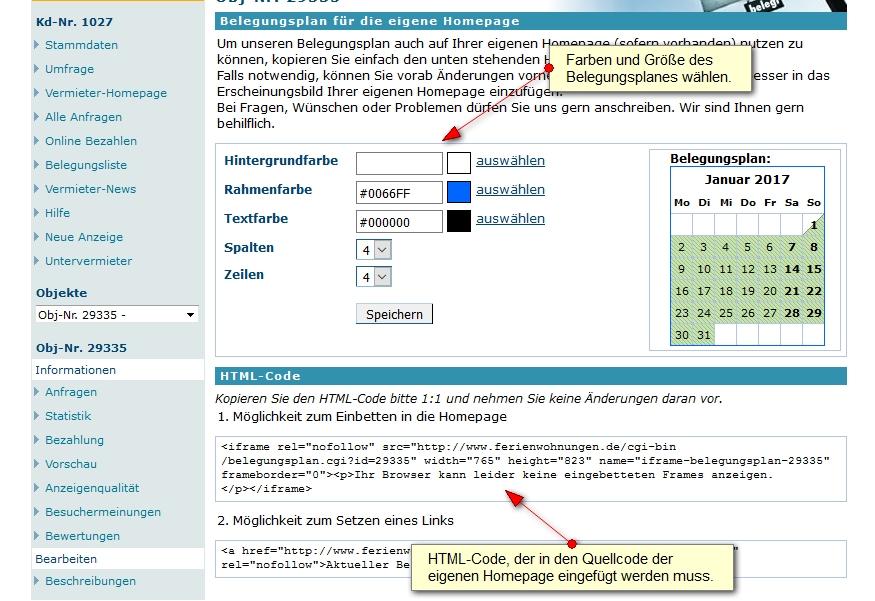 HTML-Code im Vermieterbereich erstellen