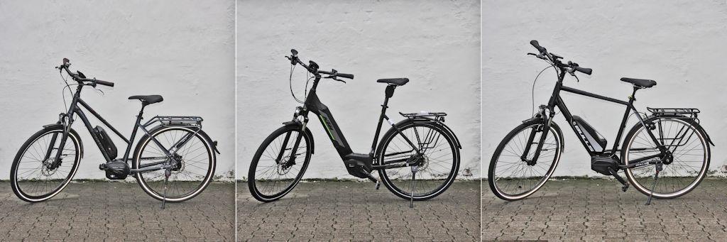 Trekking E-Bikes mit Trapezrahmen, Tiefeinsteigerrahmen und Diamantrahmen