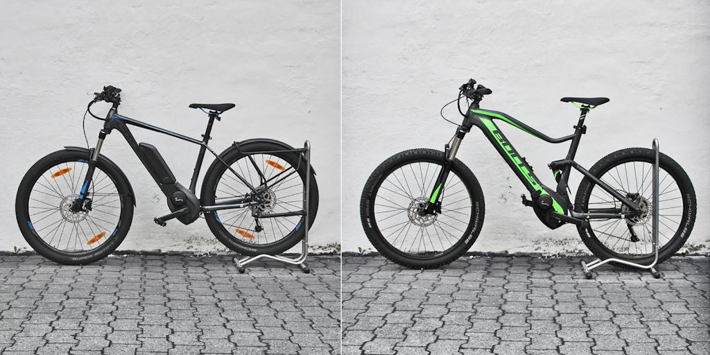 E-Mountainbike mit Hardtail und Fullsuspension