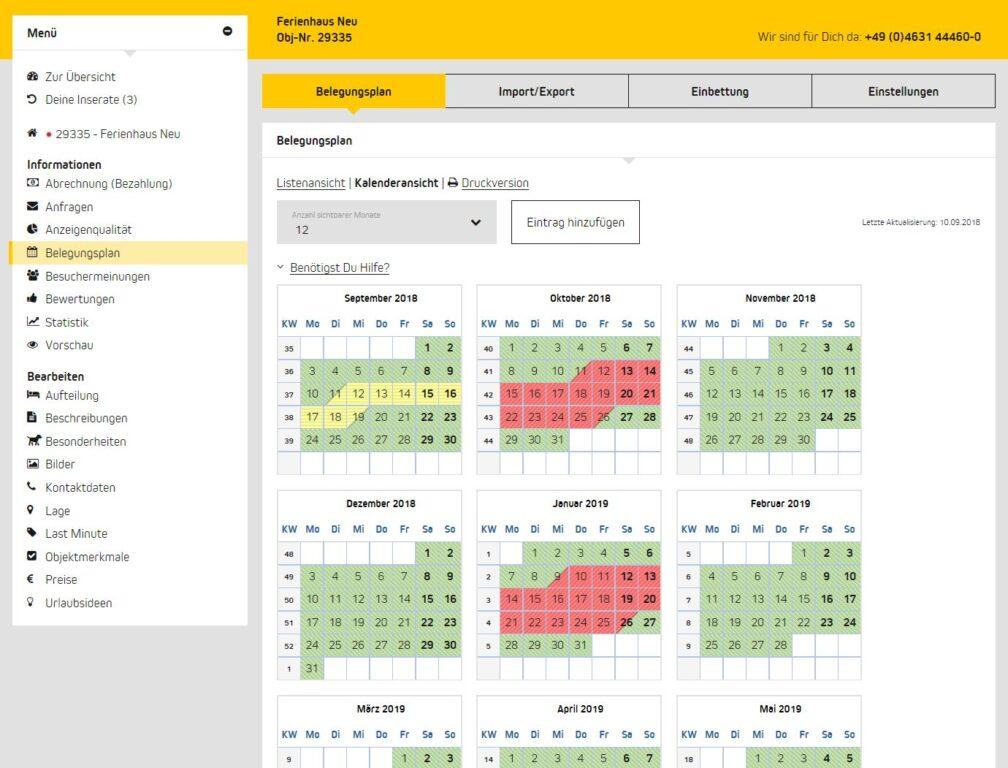 Belegungsplan im Vermieterbereich von ferienwohnungen.de